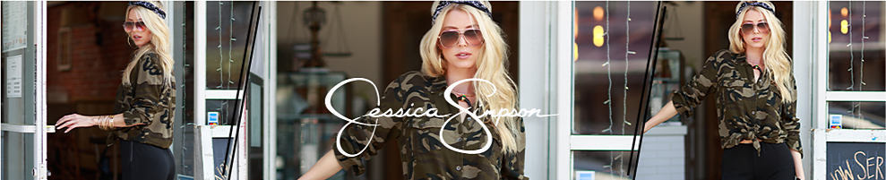 A woman in a green camo sweater, black pants, a hat, and sunglasses. Jessica Simpson.