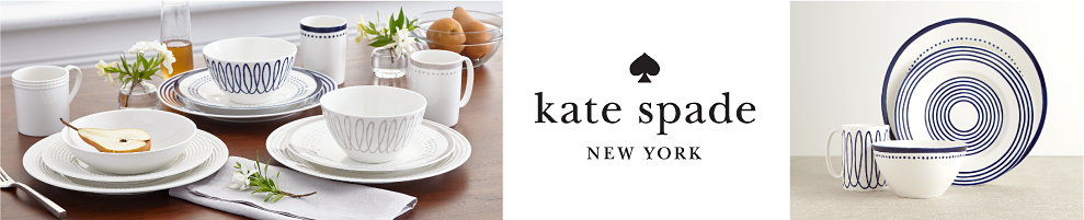 A table set with white plates, bowls & mugs & blue & white patterned plates, bowls & mugs. Kate Spade New York.