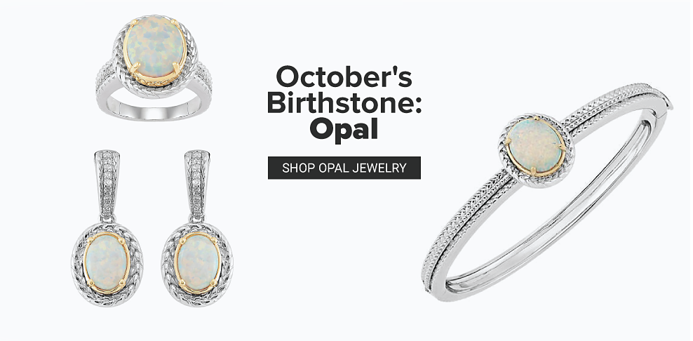 A sterling silver opal ring with a gold accent around the stone. A pair of sterling silver opal drop earrings with a gold accent around the stone. A sterling silver opal bracelet with a gold accent around the stone. October's birthstone is opal. Shop opal jewelry.