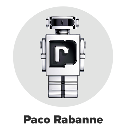A bottle of Paco Rabanne cologne resembling a silver robot. Paco Rabanne.