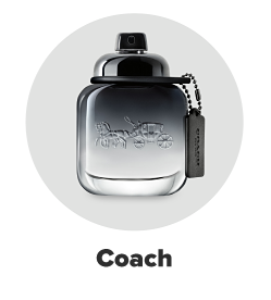 A black and clear bottle of Coach cologne. Coach.