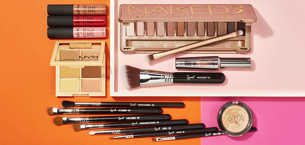 An assortment of makeup palettes & makeup brushes. Contemporary beauty. Meet some of our new favorite brands. Shop now.