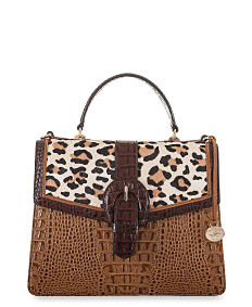 A brown croco leather & leopard print Brahmin handbag. Shop Brahmin.