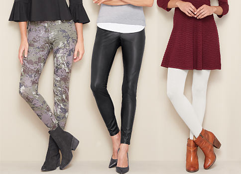 2 women wearing various styles of tops & leggings. Fashion leggings featuring HUE. Shop now.