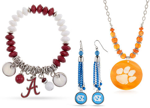 An assortment of colelgiate team jewelry. Team jewelry. Shop now.