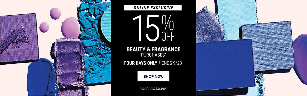 An assortment of makeup smudges in shades of blue & purple. Online Exclusive. 15% off beauty & fragrance purchases. Excludes Chanel. Four days only. Ends 9/28. Shop now.