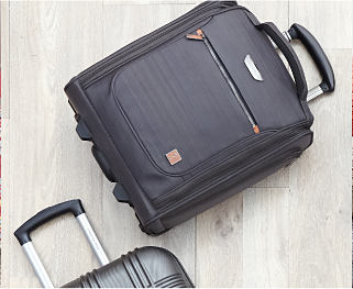 A gray suitcase. Shop luggage.