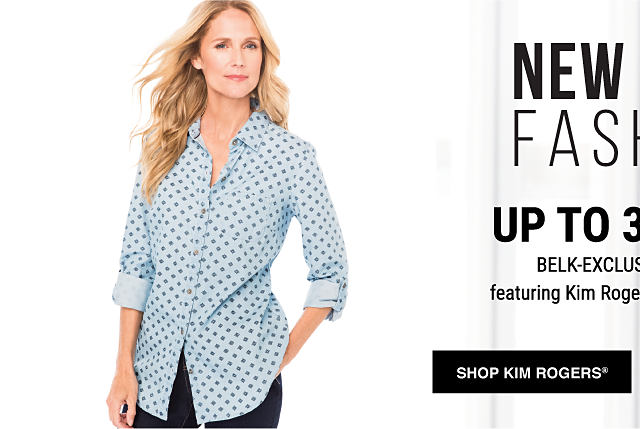 A woman wearing a gray & blue patterned button-front blouse. Up to 30% off Belk Exclusive Brands featuring Kim Rogers & Crown & Ivy. Shop Kim Rogers.
