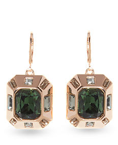 Green gem & gold fashion earrings. Shop fashion earrings.