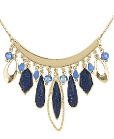 An ornate blue & gold collar fashion necklace. Shop fashion necklaces.