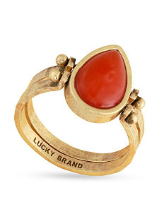 A red gem & gold metal ring. Shop fashion rings.