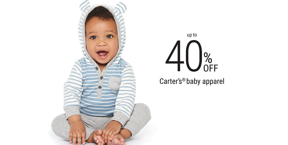 A baby boy wearing gray pants & a light blue & white striped bear-eared hoodie. Up to 40% off Carter's baby apparel. Shop now.