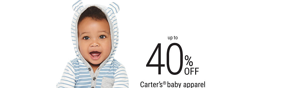 A baby boy wearing gray pants & a light blue & white striped bear-eared hoodie. Up to 40% off Carter's baby apparel.