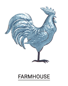 A pewter rooster. Shop farmhouse.