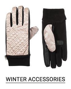 Black and white colorblock women's winter gloves Shop winter accessories.
