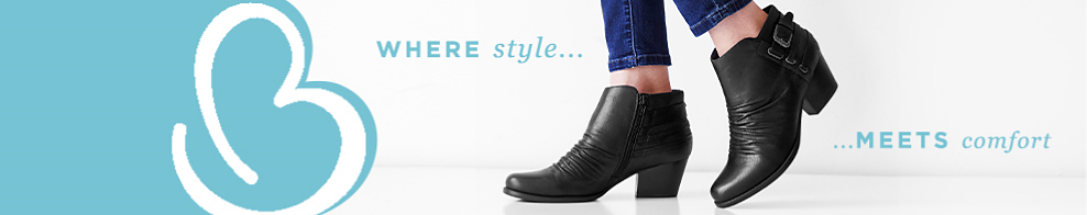 A woman wearing blue jeans & black leather booties. BareTraps. Where style meets comfort. BareTraps specializes in creating affordably priced footwear of exceptional quality & value in styles that feel as great as they look.