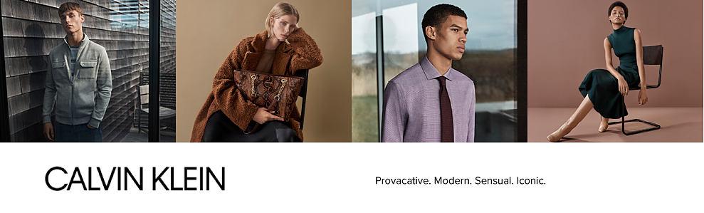 A man wearing a gray jacket & black pants. A woman wearing a brown oversized winter coat. A man wearing a light plum dress shirt & dark plum tie. A woman wearing a black sleeveless dress. Calvin Klein.