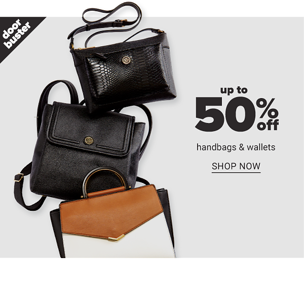 Up to 50% off Handbags and Wallets - Shop now