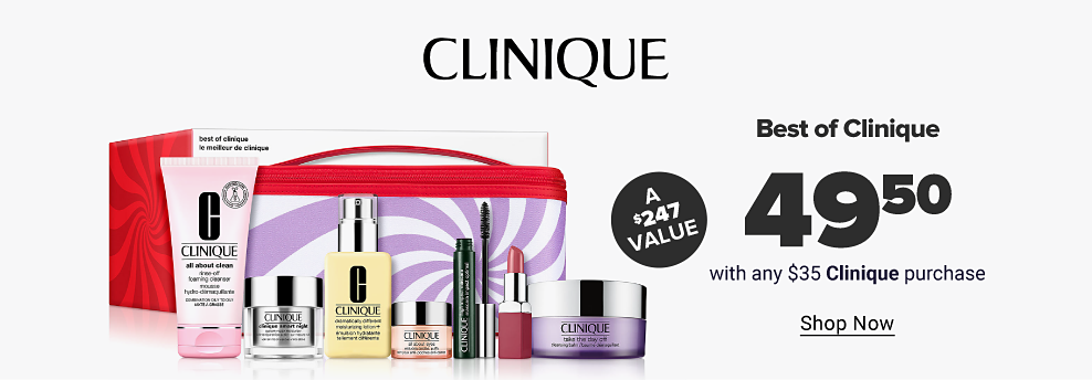 A Clinique logo. An assortment of Clinique products featuring makeup and skincare in front of a pink makeup bag. Best of clinique. $49.50 with any $35 clinique purchase. A $247 value. Shop now.