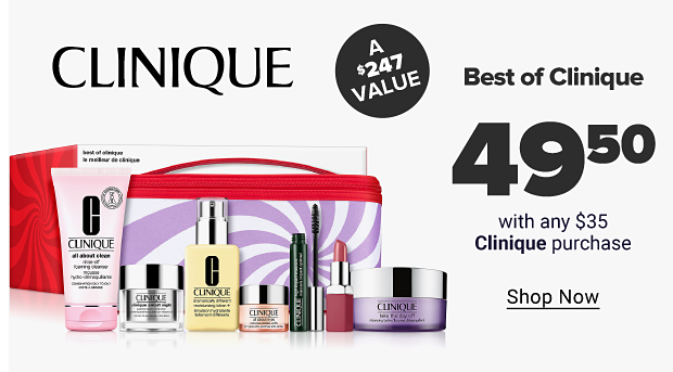 A Clinique logo.. An assortment of Clinique products featuring makeup and skincare in front of a pink makeup bag. Best of clinique. $49.50 with any $35 clinique purchase. A $247 value. Shop now.