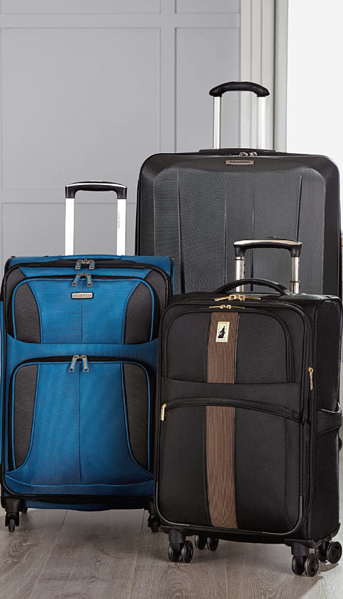 A blue & black wheeled suitcase, a black & brown wheeled suitcase & a black hardsidde wheeled suitcase. Luggage. Shop now.