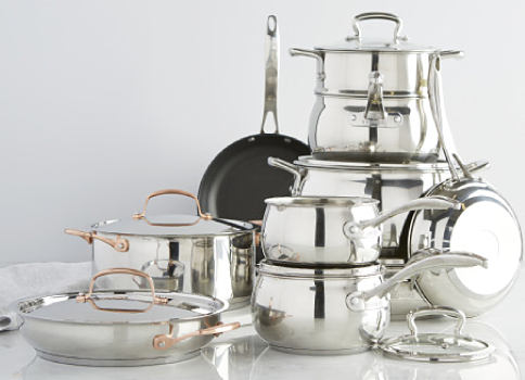 An assortment of mirrored pots & pans. Cookware. Shop now.