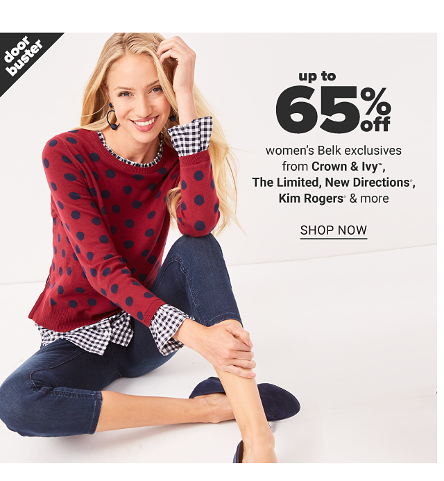 A woman wearing a red sweater with navy dots over a white & navy plaid long sleeved top & denim capris. Doorbuster. Up to 65% off women's Belk exclusives from Crown & Ivy, New Directions & more. Shop now.