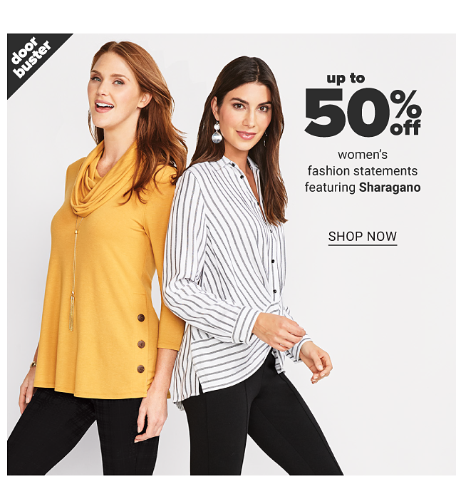 A woman wearing a gold cowl neck sweater with side button detail & black pants standing next to a woman wearing a white & gray vertical striped button front blouse & black pants. Doorbuster. Up to 50%off women's fashion statements featuring Sharagano. Shop now.
