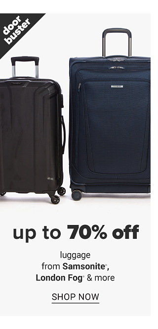 Two black wheeled suitcases. Doorbuster. Up to 70% off luggage from Samsonite, London Fog & more. Shop now.