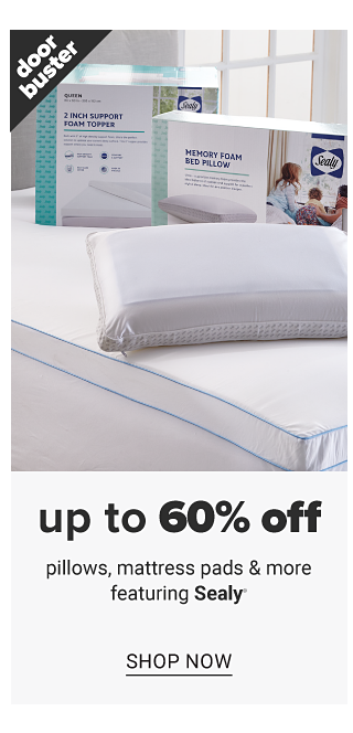 An assortment of white pillows, mattress pads & foam toppers. Doorbuster. Up to 60% off pillows, mattress pads & more featuring Sealy. Shop now.