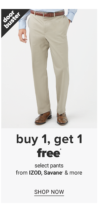 A man wearing a light blue dress shirt, beige pants & brown shoes. Doorbuster. Buy 1, Get 1 Free select pants from Izod, Savane & more. Shop now.