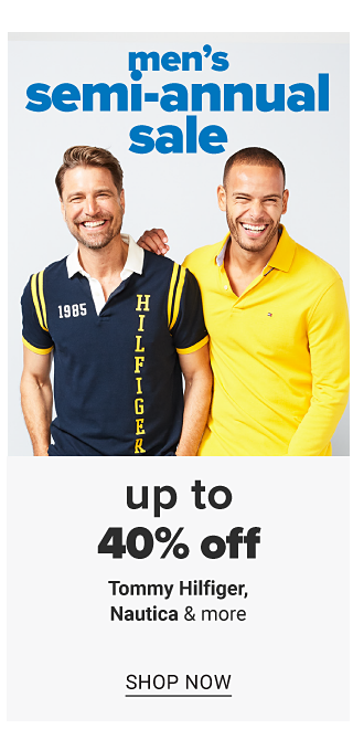 A man wearing a navy short sleeved polo with white collar, yellow stripes one the sleeves, white 1985 right chest embroidery & yellow vertical Hilfiger on the left standing next to a man wearing a yellow long sleeved polo. Men's Semi Annual Sale. Up to 40% off Tommy Hilfiger, Nautica & more. Shop now.