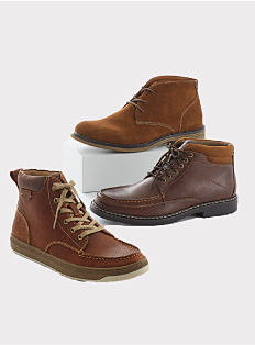 An assortment of men's boots. Shop boots.