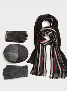 An assoertment of men's winter gloves, hats & scarves. Shop accessories.