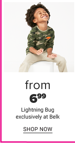 A little boy in a camo shirt and khaki pants. From 6.99 Lightning Bug exclusively at Belk. Shop now.