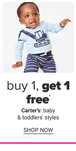 A little boy in a light blue shirt with a navy graphic and navy and white stripe pants. Buy 1, get 1 free Carter's baby and toddler styles. Shop now.