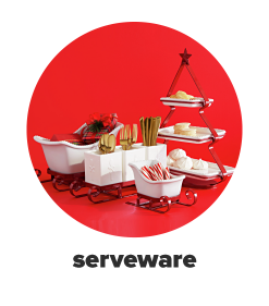A red, three-tier serving platter in the shape of a Christmas tree. A candy dish in the shape of Santa's sleigh. A matching three-compartment utensil holder and a small candy dish in the shape of a sleigh. Shop serveware.