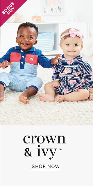A bbaby boy wearing a red, blue & poswder blus onesie sitting next to a baby girl wearing a pink bow headband & a black & white horizontal striped onesie with a pink & green rose print. Bonus Buy. Crown & Ivy. Shop now.