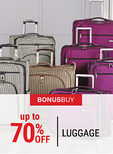 An assortment of wheeled luggage in a variety of colors. Bonus Buy. Up to 70% off luggage. Shop now.