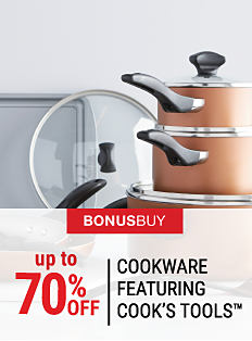 A non-stick cookie sheet & a stack of brown pots with glass lids. Bonus Buy. Up to 70% off cookware featuring Cook's Tools. Shop now.