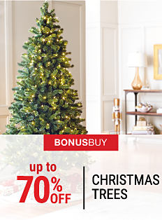 A Christmas tree with ornaments on it. Bonus Buy. Up to 70% off Christmas trees. Shop now.