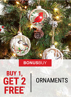 A Christmas tree with ornaments on it. Bonus Buy. Buy 1, Get 2 Free ornaments. Free items must be of equal or lesser value. Shop now.