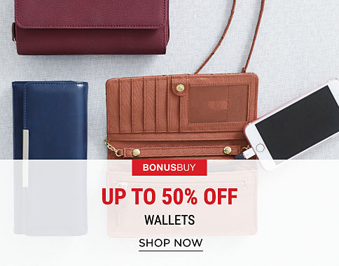 3 wallets in a variety of colors. One has a built-in phone charger. Bonus Buy. Up to 50% off wallets. Shop now.