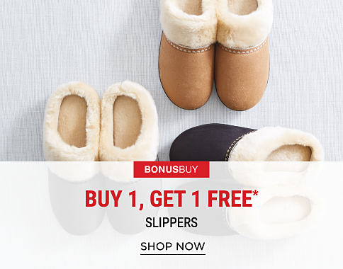 3 pairs of fleece-lined slippers in a variety of colors. Bonus Buy. Buy 1, Get 1 Free slippers. Free item must be of equal or lesser value. Excludes designer. Shop now.