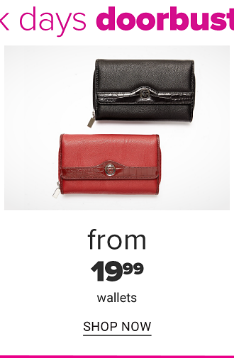 A black leather women's wallet & a red leather women's wallet. From $19.99 wallets. Shop now.