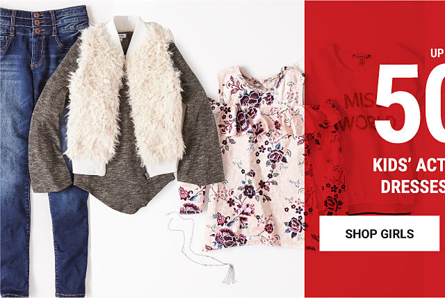 An assortment of girls' fall fashion. Up to 50% off kids' activewear, dresses & more. Shop girls.