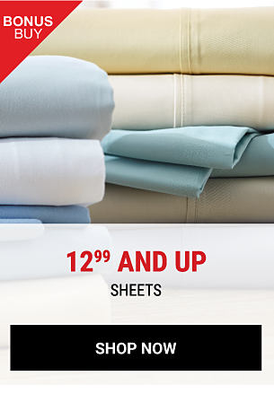 A stack of folded bed sheets in a variety of pastel colors. Bonus Buy. 12.99. Home Accents sheets. Shop now.
