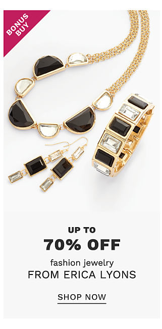 An assortment of gold tone black & white fashion jewelry necklaces, bracelets & earrings. Bonus Buy. Up to 70% off fashion jewelry from Erica Lyons. Shop now.