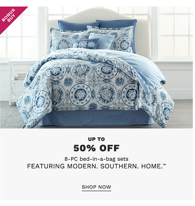 A bed made with a blue & white patterned print comforter & matching pillows. Bonus Buy. Up to 50% off 8 piece bed in a bag sets featuring Croscill. Shop now.