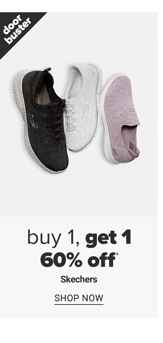 An assortment of sneakers in a variety of colors & styles. Doorbuster. Buy 1, Get 1 60% off Skechers. Shop now.